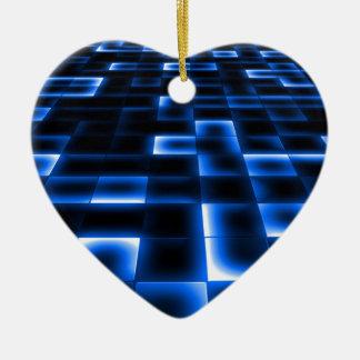 Sci Fi UFO Landing Pad Ceramic Heart Ornament