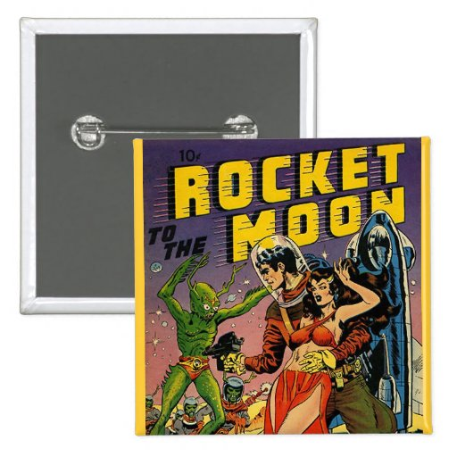 Sci Fi Vintage Comic Book Cover Art Buttons