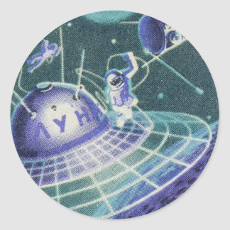 Sci vintage fi - voyage dans l espace UFO Adhésifs Ronds