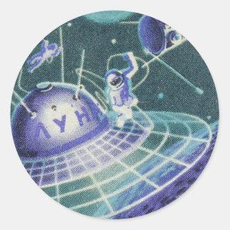 Sci vintage fi - voyage dans l'espace/UFO Sticker Rond