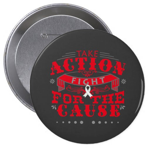 SCID  Take Action Fight For The Cause Pinback Button