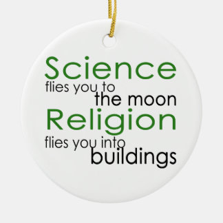 Science and religion ceramic ornament