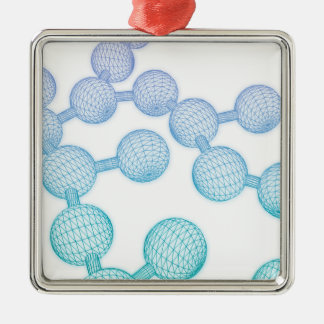 Science Atom and Chemical Formula as Concept Silver-Colored Square Ornament