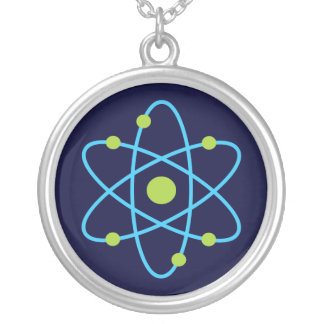 Science Atom Silver Plated Necklace