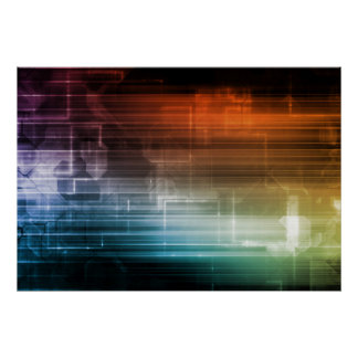Science Background With Glowing Techno Lines Art Poster