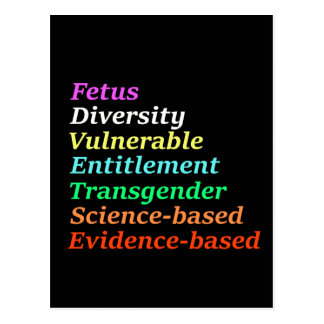 Science based and other banned words postcard
