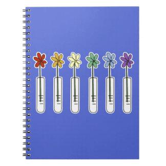 Science Beaker Notebook with Rainbow Flower Blue