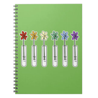 Science Beaker Notebook with Rainbow Flower Green