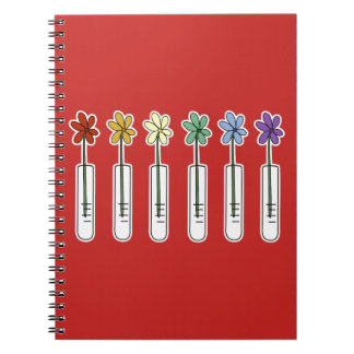 Science Beaker Notebook with Rainbow Flowers Red