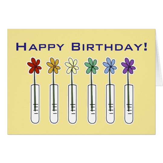 Science Beaker with Flowers Funny Birthday Card