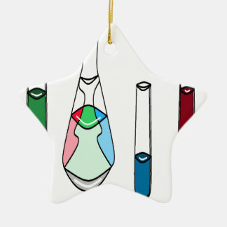 Science Beakers Test Tubes Solutions STEM Ceramic Star Ornament