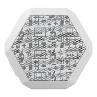 Science Biology Physics Geography Math Pattern White Bluetooth Speaker