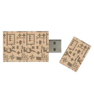 Science Biology Physics Geography Math Pattern Wood USB 2.0 Flash Drive