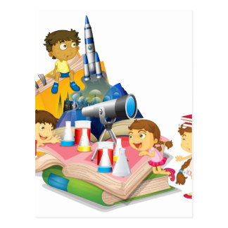 Science book with children and equipment postcard