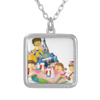 Science book with children and equipment silver plated necklace