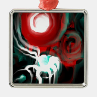 Science Fiction Abstract Silver-Colored Square Ornament