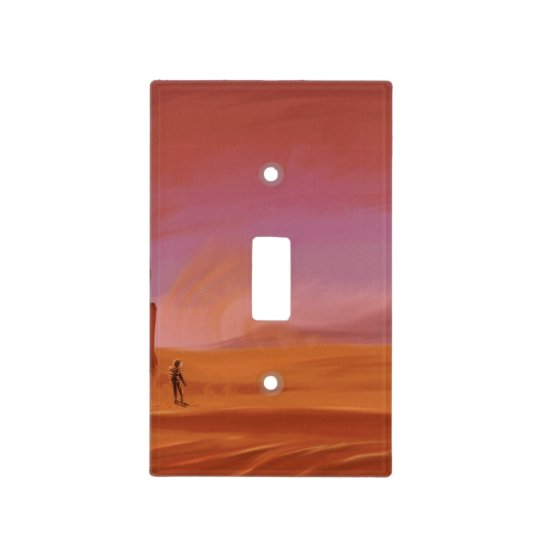 Science Fiction Vintage Mars Vacation Illustration Light Switch Cover