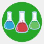 Science Flasks Round Sticker