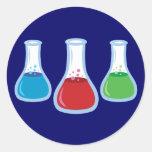 Science Flasks Round Stickers