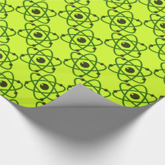 Science is Cool Neon Green Chemistry Atoms Design Wrapping Paper