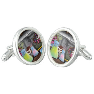 Science Laboratory with experiments bubbling Cufflinks