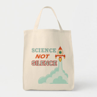 Science not Silence rocket ship Tote