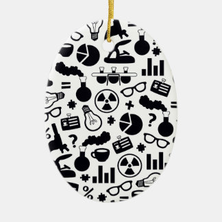 Science Pattern black on white Ceramic Oval Ornament