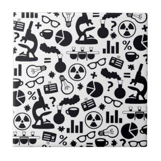 Science Pattern black on white Ceramic Tiles