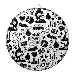 Science Pattern black on white Dartboard