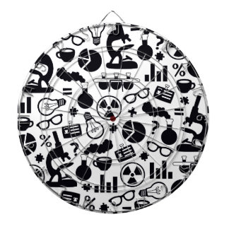 Science Pattern black on white Dartboard With Darts