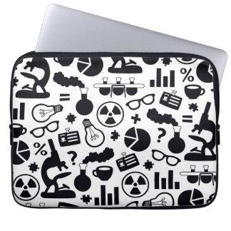 Science Pattern black on white Laptop Sleeve