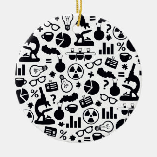 Science Pattern black on white Round Ceramic Ornament