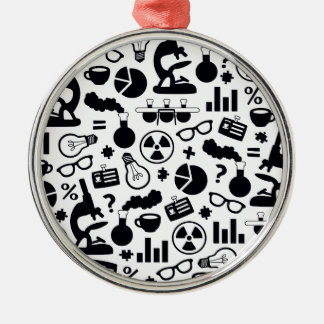 Science Pattern black on white Silver-Colored Round Ornament