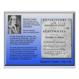 Science Physics Electricity Benjamin Franklin Poster