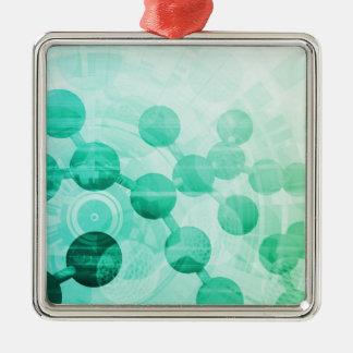 Science Research Silver-Colored Square Ornament