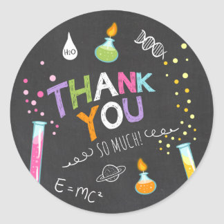 Science Sticker Thank you Birthday Favor tag Girl