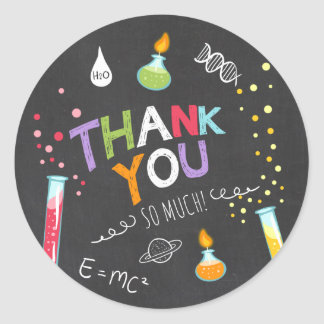 Science Sticker Thank you Birthday Favor tag Lab