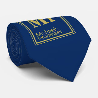 Science Teacher Custom Name Periodic Table Navy Tie