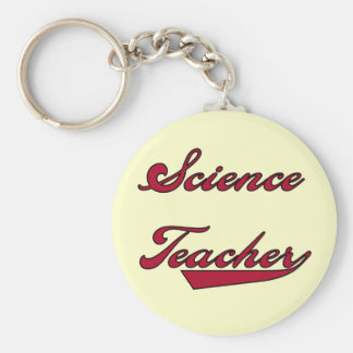 Science Teacher Red Text Tshirts and Gifts Basic Round Button Keychain