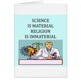 science vs religion joke greeting card