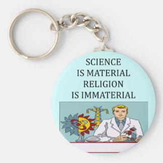 science vs religion joke key chains