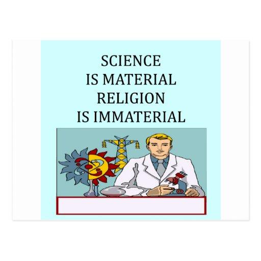 science vs religion joke post cards