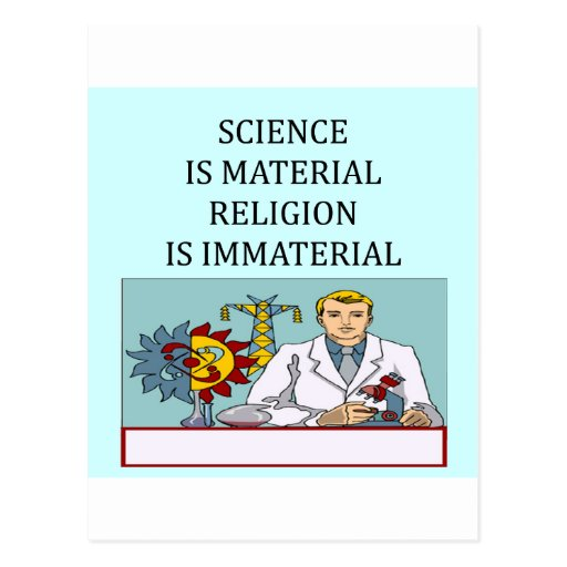 science vs religion joke post card