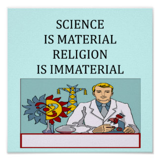 science vs religion joke poster