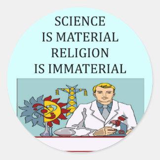 science vs religion joke classic round sticker