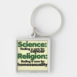 Science VS Religion Silver-Colored Square Keychain