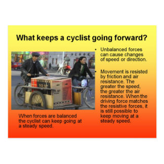 Science, What keeps a bicycle going forward? Postcard