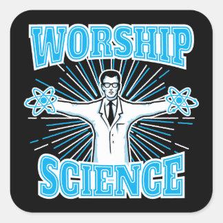 Science Worship Funny Geek & Atheist Anti-Religion Square Sticker