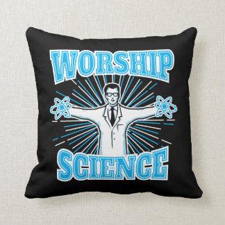 Science Worship Funny Geek & Atheist Anti-Religion Throw Pillow