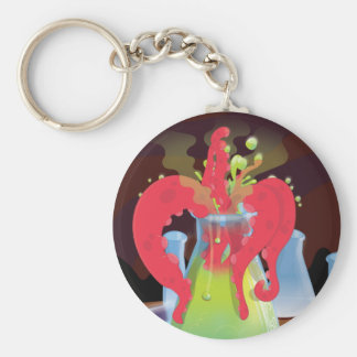 Scientific experiment flask Monster Basic Round Button Keychain